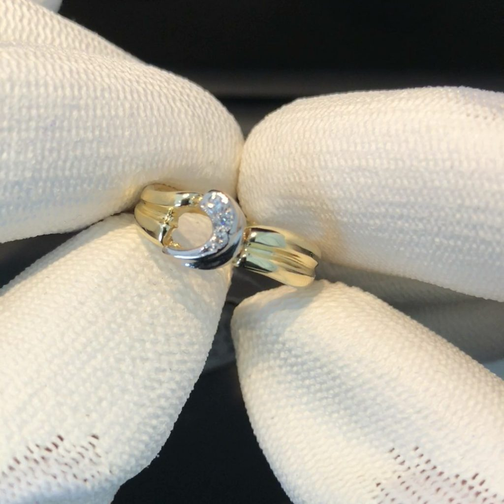 GDR-219 bi-color dames ring 18 kt mt 17 3/4 met brilj
