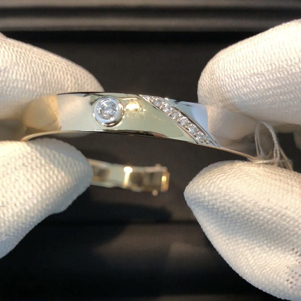 GDA-221 bi-color dames armband 14 kt met t.t 0.43 ct brilj