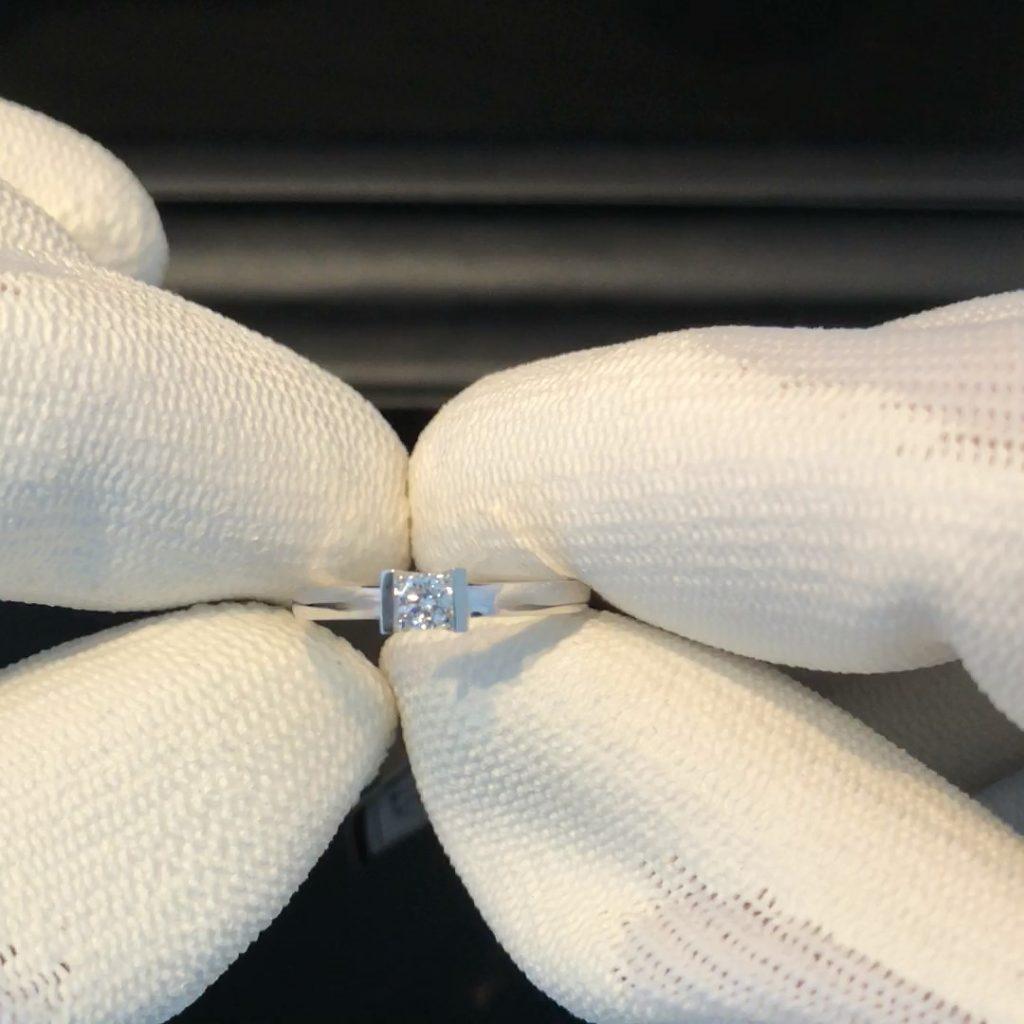 GDR-231 witgouden 18 kt solitair dames ring mt 16 1/2 met 0.13 ct brilj