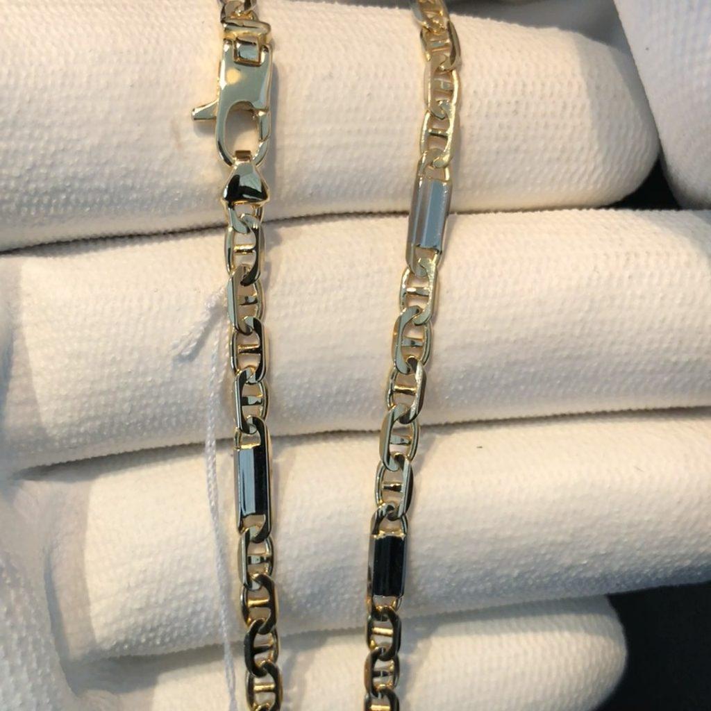 GUC-225 geelgouden 18 kt Marina schakel collier met witgouden plaatjes 50 cm