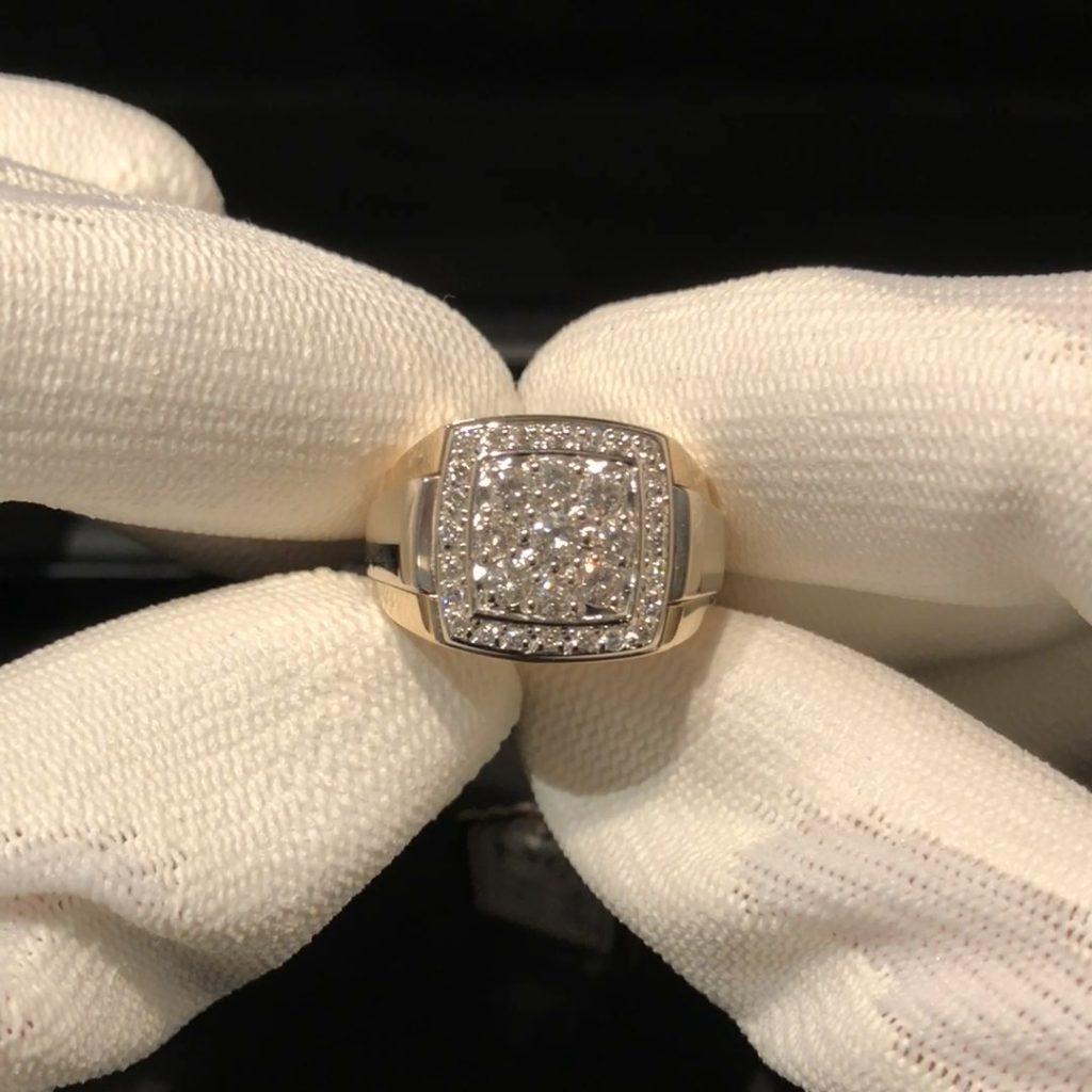 GHR-211 Heren ring 14 Kt geel/wit goud mt 20 1/4 met 1.28 ct briljant