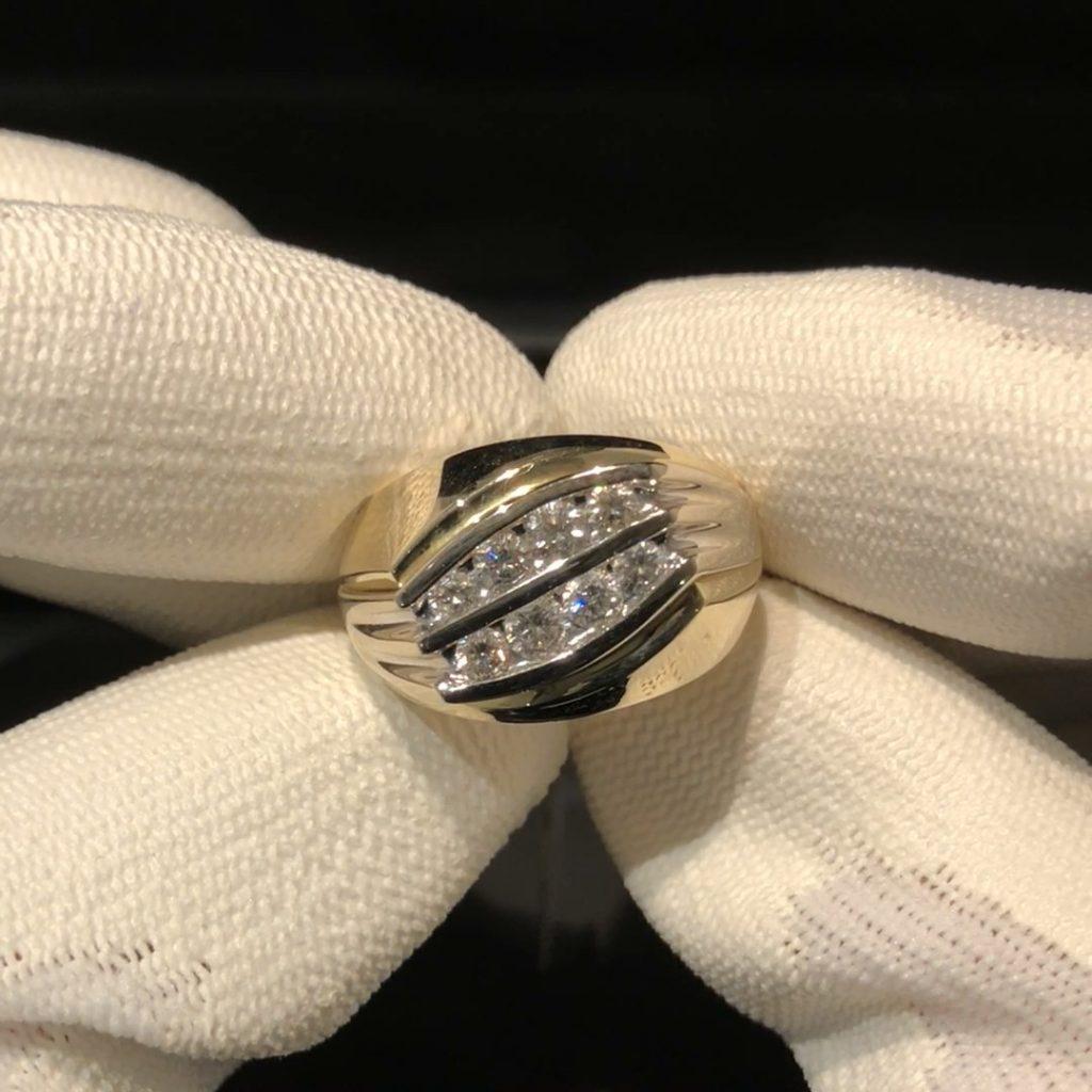 GHR-215 Heren ring 14 kt geel/witgoud mt 20 3/4 met 1.00 ct briljant