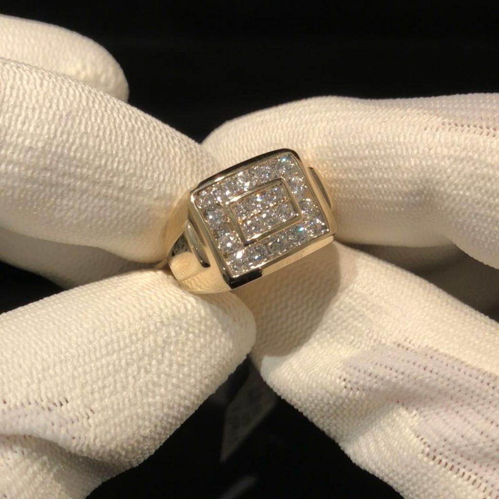 GHR-214 Heren ring 14 kt geelgoud mt 20 met 1.08 ct briljant