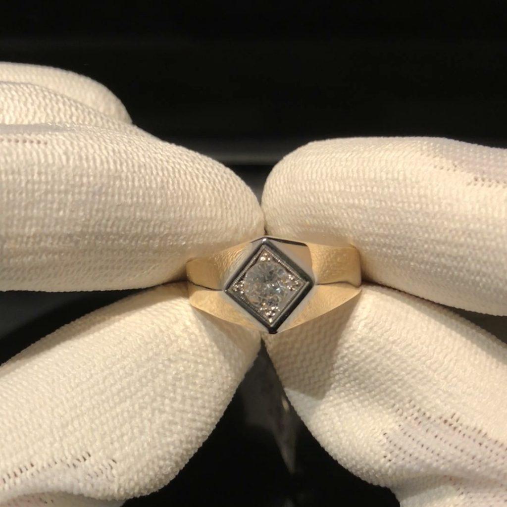 GHR-216 Heren ring 18 kt geelgoud mt 21 1/4 met 0.75 ct briljant