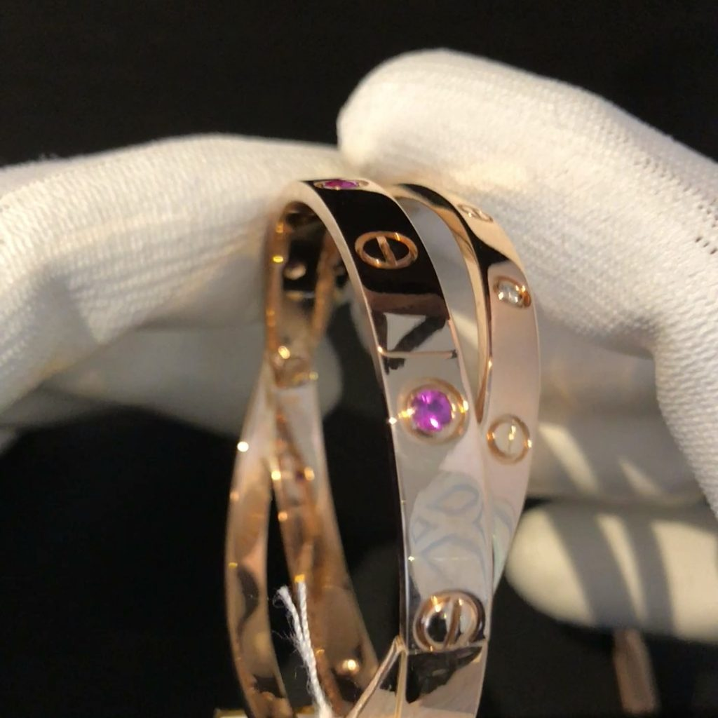 "GDA-235 Roze gouden 18 kt dubbele ""Love Bracelet"" met briljant en tourmalijn"