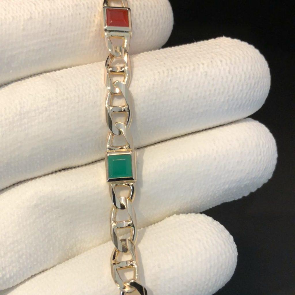 GDA-252 geelgouden 14kt marina schakel armband met kleurstenen