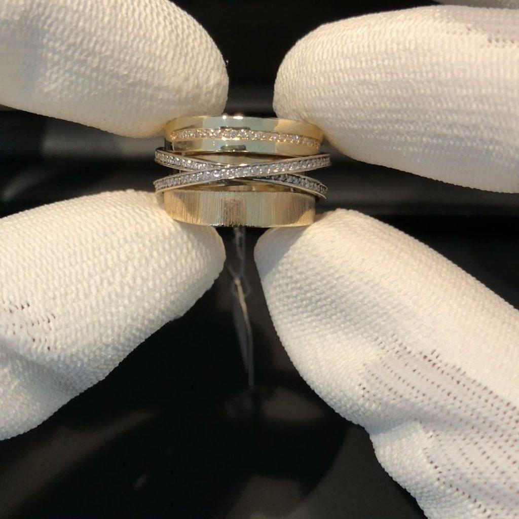 GDR-258 exclusieve tri-color dames design ring 14 kt met 0.54 ct brilj. mt 19